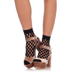 Leg Avenue calcetines cortos de red ancha con perforaciones. Talla única