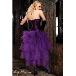 Falda burlesque de túl transparente con corte frontal