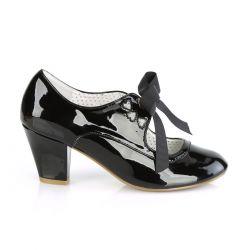 Zapatos de charol WIGGLE-32 tacón bajo estilo Mary Jane con cinta al frente