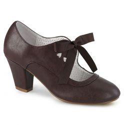 Zapatos de polipiel WIGGLE-32 tacón bajo estilo Mary Jane con cinta al frente