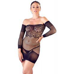 Vestido corto de red elástica con hombros descubiertos y mangas cosidas