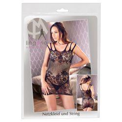 Vestido corto de red elástica sin costuras con 3 tirantes en los hombros