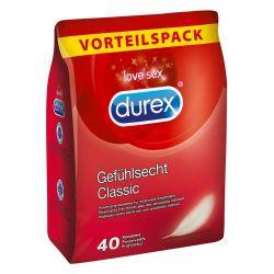 Pack ahorro 40 unidades de preservativos transparentes Durex classic.