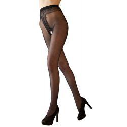 Pantys con entrepierna abierta y trasero, con costura decorativa negra