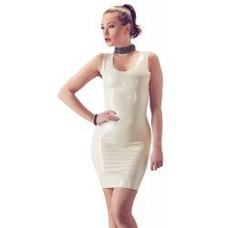 """LATE X"" Mini vestido ajustado fetiche de látex blanco. Talla XS a 2XL."