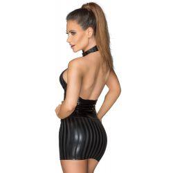 """Mini vestido de rayas en tejido brillante con corsé de imitación """"Noir"""""""
