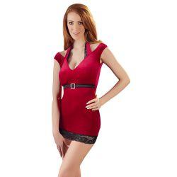 Mini-vestido rojo de terciopelo con cuello halter y cinturón de satén