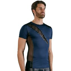 Camiseta de microfibra con laterales de fina gasa y cordones decorativos