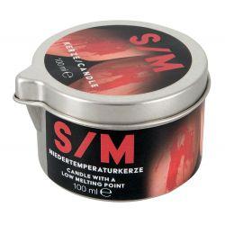 Vela roja de masaje S/M con 2 mechas de calor. 100 ml