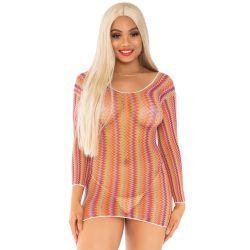 Mini vestido elástico multicolor. Fabricado de red con mangas largas