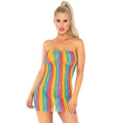 Mini vestido ajustado multicolor hecho de encaje. Talla única.