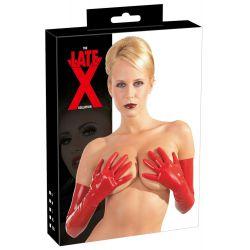 Guantes fabricados en excitante látex rojo y largos por encima del codo