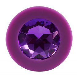 Plug anal lila de silicona y forma cónica de 8 cm con joya en la base