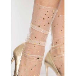 Calcetines color piel de tul transparente,con estampado de estrellas y lunas