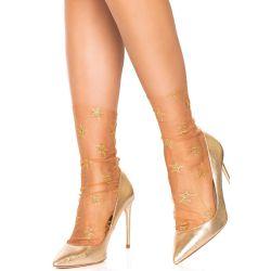 Calcetines de tul con estampado de estrellas brillantes en dorado.