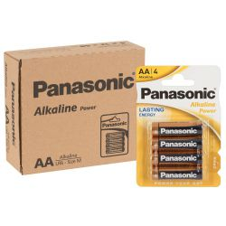 Pack de 12 x 4 pilas AA, Panasonic alcalinas power