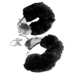 Esposas negras de piel sintética suave y aterciopelada, con juego de llaves