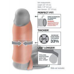 """Funda de pene con anillo de testísculo y orificio en la punta """"Real Feel"""""""