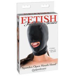 Máscara de spandex en tejido ligero y fino con orificio en la boca