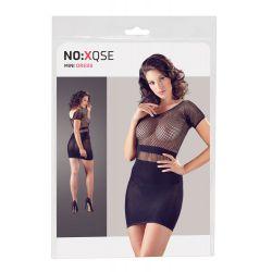 Minivestido ajustado combinado de red en la parte superior y falda opaca