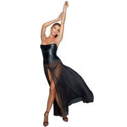 """Vestido largo """"Noir"""" Corsé en tejido mate brillante y falda transparente"""