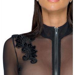 """Catsuit transparente""""Noir""""con bordados en los hombros y cremallera frontal"""