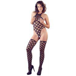 Body elástico de red ancha con entrepierna abierta y medias a juego