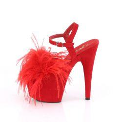 "Sandalias rojas en tejido nobuk con pluma de marabú extraíble ""ADORE-709F"""