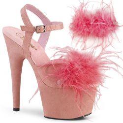 """Sandalias rosas en tejido nobuk con pluma de marabú extraíble """"ADORE-709F"""""""