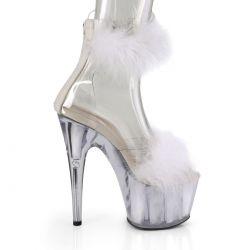 """Sandalias blancas""""ADORE-724F""""empeine y pulsera del tobillo de pluma marabú"""
