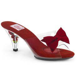 Zuecos rojos estilo Pin Up con lazo de terciopelo y flores en el tacón