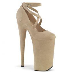 """Zapatos beige de plataforma extra alta en tejido nobuk""""BEYOND-087FS"""""""