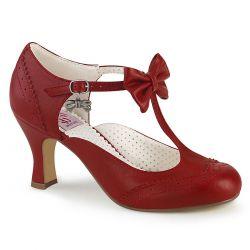 Zapatos Pin Up rojos de polipiel abiertos al costado con detalle de lazo
