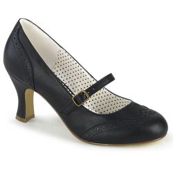 "Zapatos de tacón color negro estilo mary Jane con punta redonda""FLAPPER-32"""