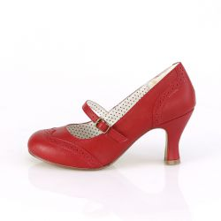 """Zapatos de tacón color rojo estilo mary Jane con punta redonda""""FLAPPER-32"""""""