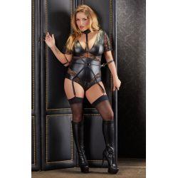 ¡Tallas Grandes! Body bondage negro combinado en tejido mate y encaje