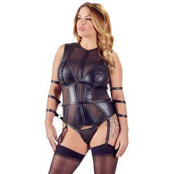 ¡Talla XL hasta 4XL!Body bondage con ligueros y esposas de sujeción