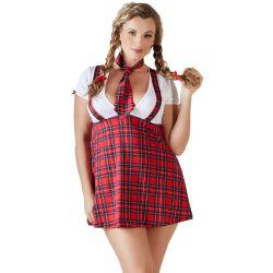 ¡Para chicas con curvas! Uniforme de colegiala sexy con corbata a juego.