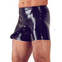 Pantalones cortos de latex con funda de pene y condon anal integrado