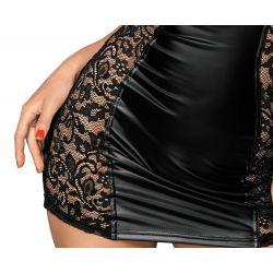 Mini vestido ajustado de aspecto mate brillante con laterales de encaje
