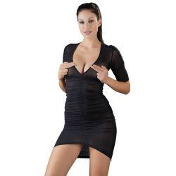 Talla S a XL. Mini vestido fruncido en tejido elástico semitransparente