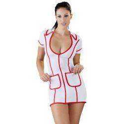 Vestido ajustado de enfermera sexy con escote y cremallera frontal