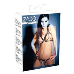 Bikini con diseño de correas de cuero, cadenas y aros que se unen