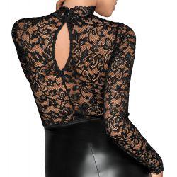"""Vestido sexy """"Noir"""" con top de encaje y falda efecto mate brillante"""