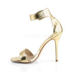 Sandalias de cuero sintético tacón aguja y correa ancha talla 35 a 48