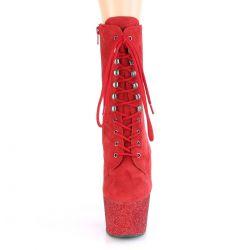 Botines rojos ADORE-1020FSMG.Con caña de Nobuk y plataforma de purpurina