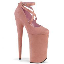 """Zapatos rosas de plataforma extra alta en tejido nobuk""""BEYOND-087FS"""""""