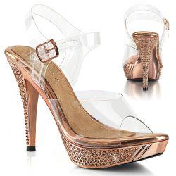 Lujosas sandalias Pleaser de plataforma baja cromada con strass brillante