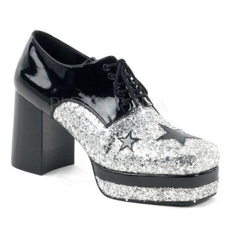 Zapato plataforma retro eastrellas purpurina