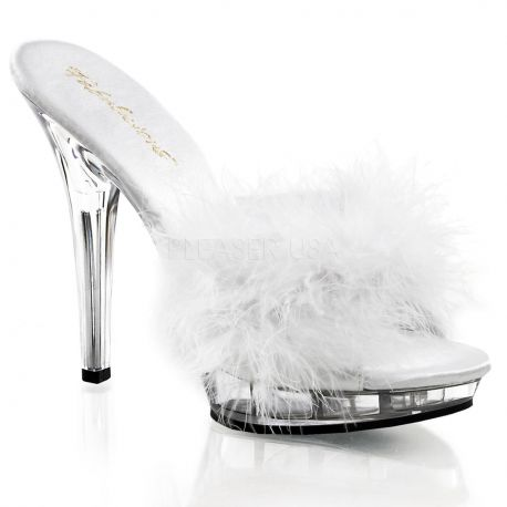 Zapato sexy zueco plumon